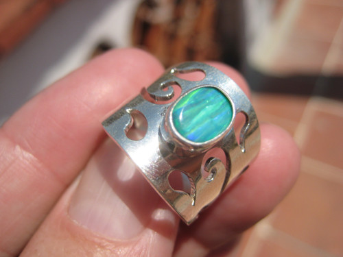 925 Silver Created Opal Ring UNF583