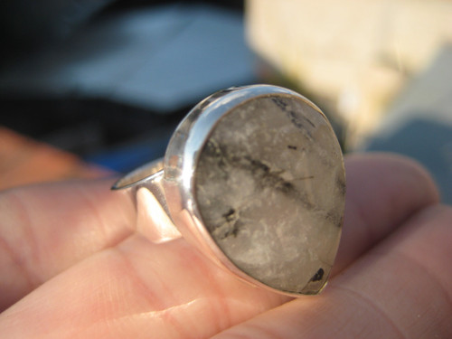 925 Silver Black Rutile Quartz Ring Taxco Mexico Size 7 A562