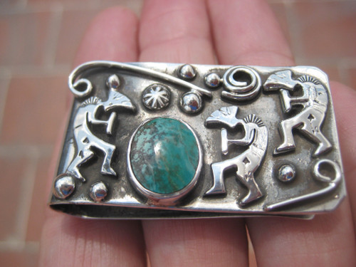 Kokopelli 925 Silver Turquoise Money Clip Authentic Taxco Mexico A39577
