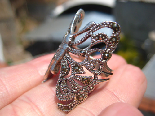 925 Silver Marcasite Stone Butterfly Ring Taxco Mexico Size 7.5 US A8766