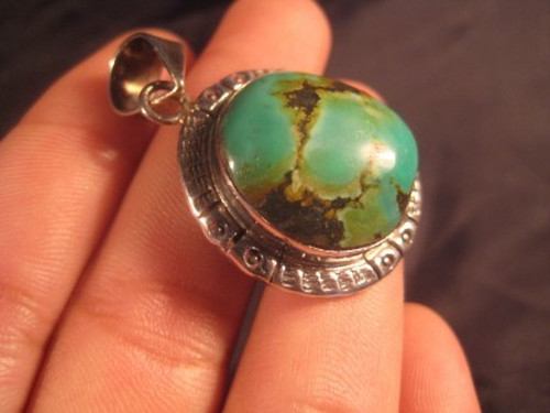 925 Silver Tibetan Turquoise Pendant Jewelry Art A801