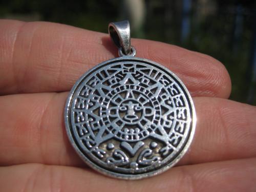 925 Silver Mayan Calendar Pendant Image 1