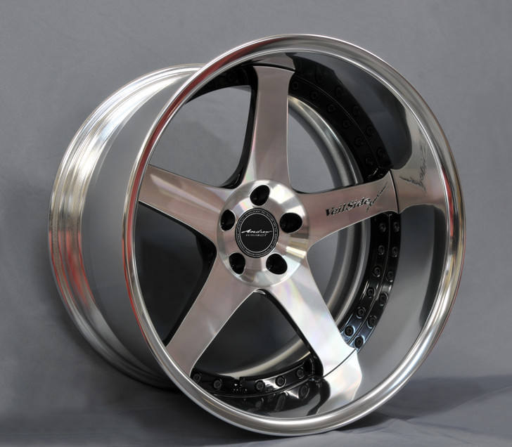 VeilSide Fortune RX7 ANDREW Evolution V Fast Furious Forged Wheels Set in Polished Silver