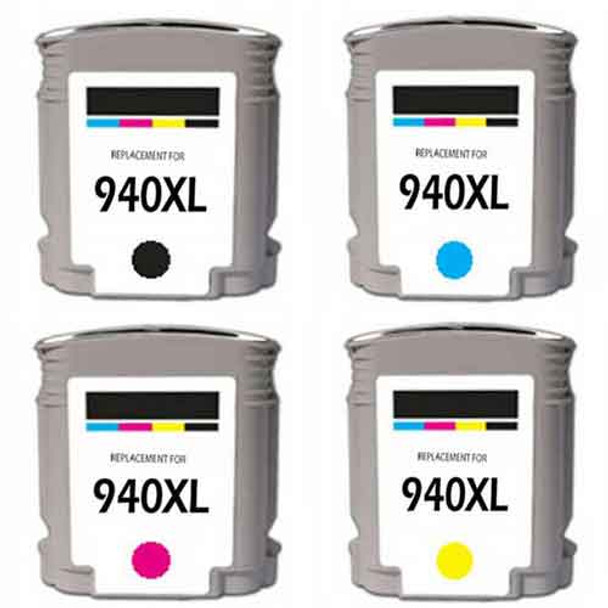 Premium HP 940XL Set Compatible Ink Cartridges Set with New Chip Ink Level Indicator