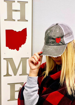 Ohio Embroidered in Red Trucker Hat