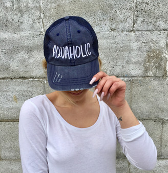Aquaholic Embroidered Trucker Hat