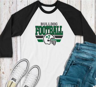 Bulldog Football Custom  Baseball Tee