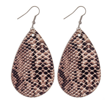 Faux Leather Snakeskin Teardrop Earrrngs