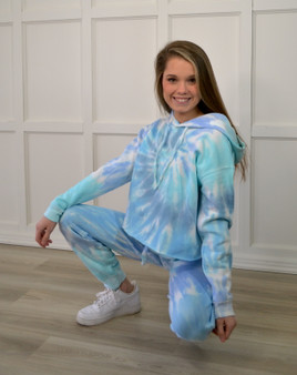 Blue Tie Dye Cropped Softstyle Hoodie