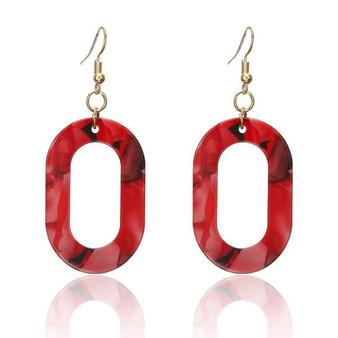 Red O Oval Earrings