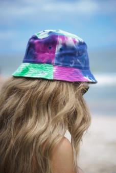 Purple Tie Dye Tie Dye Blank Bucket Hat