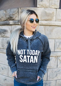 Not Today Satan Softstyle Vintage Hoodie