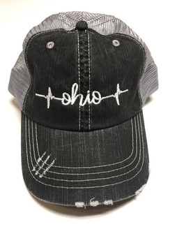 Ohio Heartbeat Embroidered Trucker Hat
