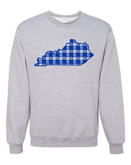 Kentucky State Blue Plaid Crewneck Sweatshirt-Womens