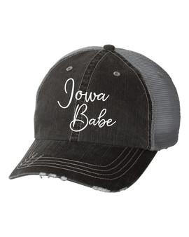 Iowa Babe Embroidered Gray Trucker Hat