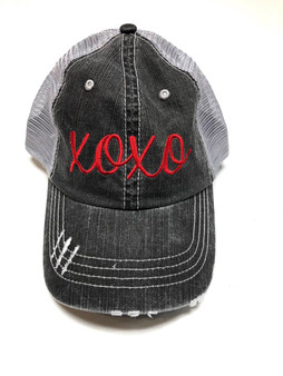 xoxo  Embroidered in Red Baseball Cap
