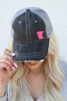 Minnesota in Pink Embroidered Trucker Hat