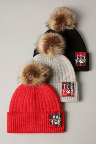 DOG MOM Knit Beanie Hat with Pom