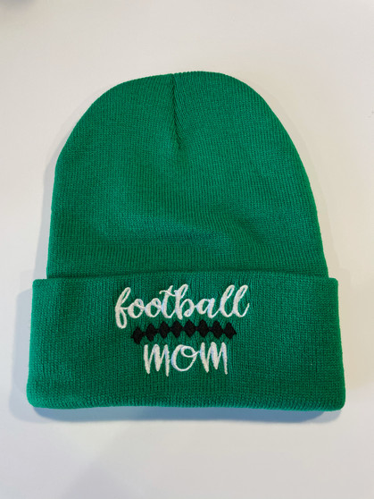 Football Mom Embroidered Kelly Green Beanie Hat