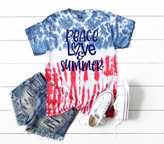 Peace Love Summer Red White Blue Tie Dye Short Sleeve Tee