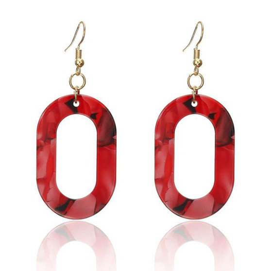 Red O Oval Earrings