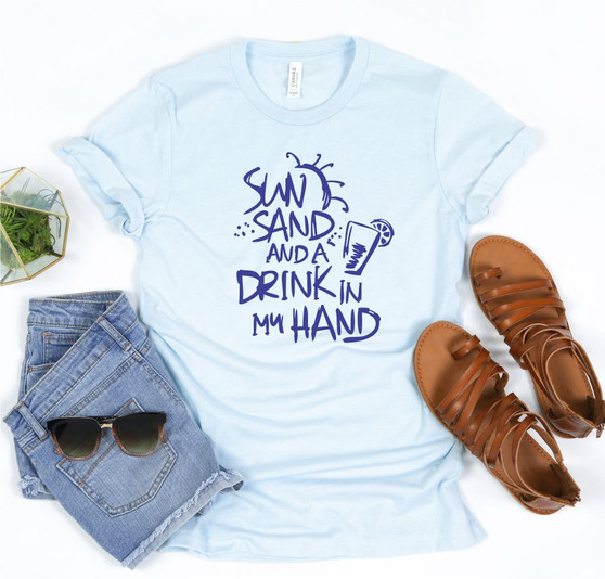 Sun Sand and a Drink in my Hand Softstyle Tee