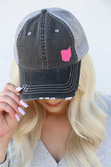 Ohio in Pink Embroidered Trucker Hat