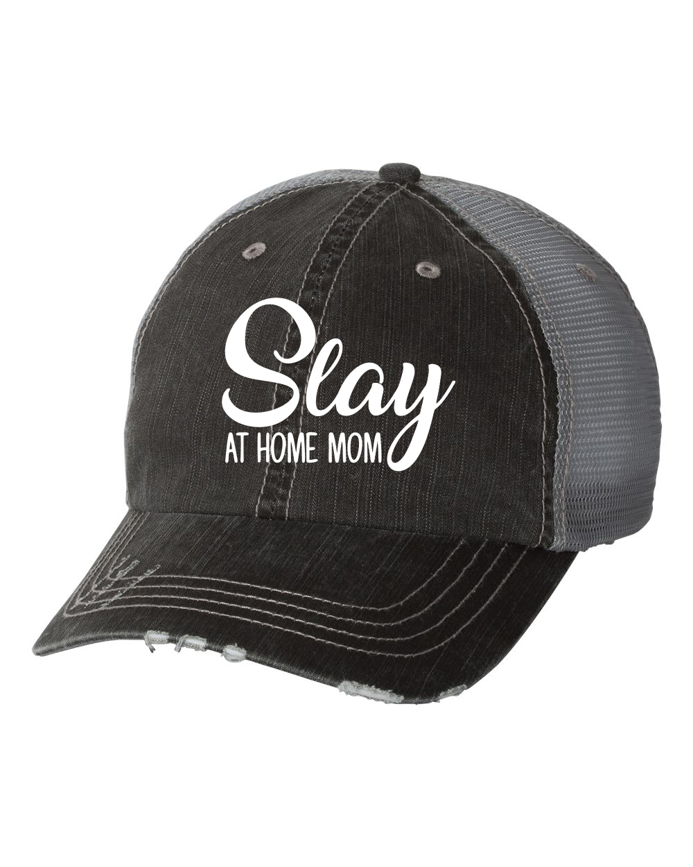Slay at Home Mom Embroidered Trucker Hat - Ocean   7th bad10a72f67