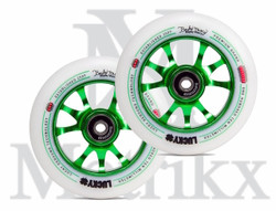 Lucky Toaster™ 110mm Pro Scooter Wheels Green/White Signature Bayley Maxcy  (2 Wheels)