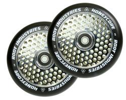 Root Industries Honeycore 120mm Wheels Black / Mirror Chrome