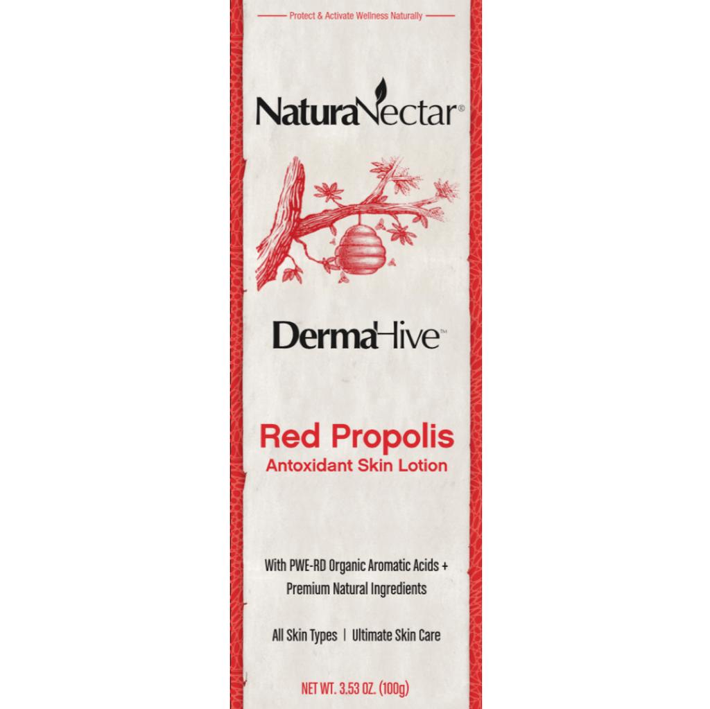 NaturaNectar DermaHive Red Propolis Antioxidant Skin Lotion Front Panel