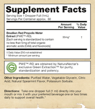 Liquid Red Propolis Supplement facts