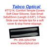 """Comfort Temple Silicone Covers, Opening 3 mm, Tip 3 x 6mm overall length 65mm about 2-5/8"""".  These soft silicone temple tip covers slide on over your existing temple tips. The soft silicone helps secure the eyewear while being soft to the touch. Sold in 3 pair bags"""