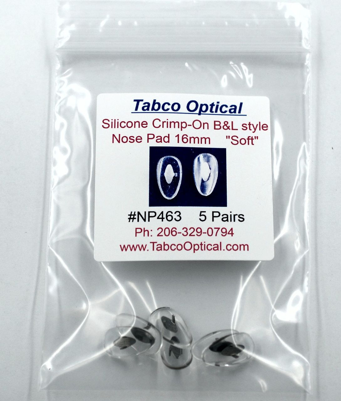 e06d94e3fd ... NP463 Soft Silicone Crimp-On nose pad 16mm length in Tear-drop shape  made