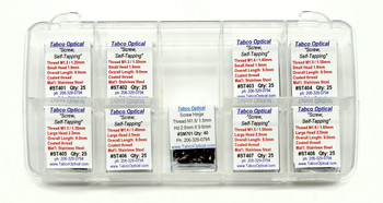 The Ultimate Starter Kit - This sampler kit contains eight different self-tapping and thread-forming screws in eight 25-count vials. All 200 screws in this handy kit are made from stainless steel and have coated threads. Thread sizes are 1.3mm to 1.6mm. Screws are self-tapping, self-aligning spring hinge, and general repair styles.