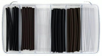 "K3000 Shrink Tubing Kit this practical sampler containing (6) 4"" pairs of our 3/32"" Clear; 1/8"" Black, Brown and Clear and 3/16"" Black, Brown and Clear Totaling 336"" of product.  Shrink Tubing will reduce by 2/3"" original diameter to cover worn temples or temple tips cover without replacing."