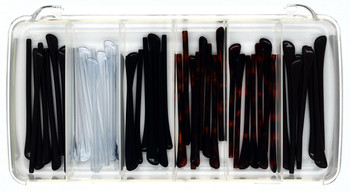 """K5001 Temple Tip Sampler with """"Smaller"""" 1.4mm core sizes 1.4 and 1.6mm  Containing 6 items with 5 pairs of each size:  1.6mm core size in Brown, Clear, Black and Tortoise; 1.4mm core size in Brown and Tortoise in a clear plastic box. Price $24.95 for 30 pairs in total."""