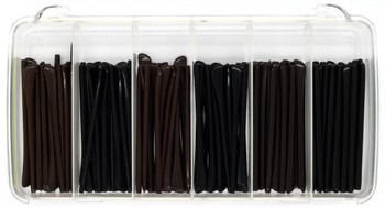 """Repair Shop"" Temple Tip Kit contains: Six unique Premium Temple Tips: Brown and Black colors each in 1.4mm, 1.6mm and 2.0mm ""core diameter"" inside diameter TEN pairs of each. Total60 pairs."
