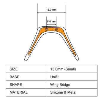 """Soft wings also called """"Unfit"""" bridge type of nose pad this item is:  """"Small and Gold""""  Overall measurements are around 19mm high and 28mm wide.  Note: this style of nose pad utilizes a single piece of silicon to connect both nose pads thereby balancing the weight of the frame over a wider area. This item has a metal insert inside the Silicon exterior. The nose pad is screw mounted to the frame bridge.  Sold in 3 piece bags. Screw-on Silicone Softwing Gold Large 15mm 3 pieces."""