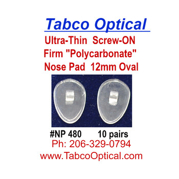 """Label: Ultra-Thin Nose pad - PVC - Screw-On Tear-Drop 12mm 10 pair bag thickness is about .050"""" / 1.25mm"""