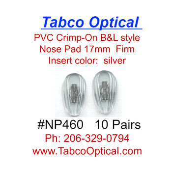Crimp-On nose pad 17mm length in Tear-drop shape made from Medium-Soft PVC with silver color metal insert.  The mount has two flat bars that can be bent to secure pad to nose pad arm.  This is pad was extensively used on older B & L frames.   Packaged in 10 pair bags