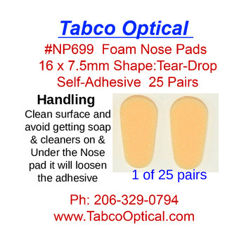 """Soft Foam nose pads with self adhesive backing size: 16mm (5/8"""") long by 7.5mm (9/32"""") wide, color is Tan w/little pink.  Sold in 25 pair bags."""