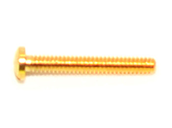 SM405 Hinge Repair Screw; 1.4mm Thread, 2.4mm Head, 10.5mm Overall Length, Made of nickel silver, finish color is decorative gold platting, Sold in 100 count vials.  This screw is also available in with silver finish see #SM405, other variations are #SM10 stainless steel with full thread and #SM202 stainless steel with standard thread.