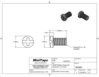 """Screw small head – Phillips / X-Slotted; Thread M1.4 (1.4mm), Head 2.0mm diameter, Overall Length 3.0mm, Stainless Steel, 100 count. This screw is typical on smaller frames also called """"Eyewire"""" screw"""