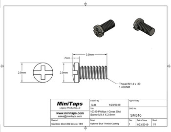 """Screw small head – Phillips / X-Slotted; Thread M1.4 (1.4mm), Head 2.0mm diameter, Overall Length 3.5mm, Stainless Steel Silver Finish, 100 count. This screw is typical on smaller frames also called """"Eyewire"""" screws"""