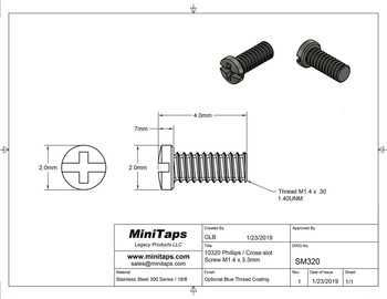 """Screw small head – Phillips / X-Slotted; Thread M1.4 (1.4mm), Head 2.0mm diameter, Overall Length 4.0mm, Stainless Steel Finish: Silver with coated thread, 100 count. This screw is typical on smaller frames also called """"Eye wire"""" screws."""