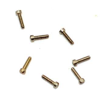 "SA119 US Eyewire Screw; 1.27mm Thread (00-90 Oversized .050""), 1.9mm Head, 5.8mm Overall Length, Material Nickel Silver, Silver Finish, $4.95 per 100"