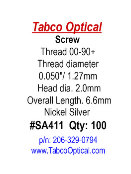 """SA411 is US Optical Hinge Screw; Thread 00-90 0.050"""" / 1.27mm Thread, 2.0mm Head, 6.60mm Length, Silver Finish, packaged in 100 count vials, Please note this thread is an oversized 00-90 thread common in Eyewear and Jewelry."""