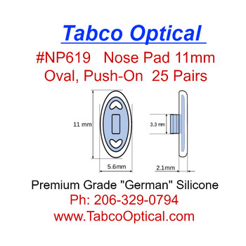 """Premium grade soft silicone """"Push-On"""" mount nose pads 11mm """"Oval"""" Shape. Packaged in 25 pair bags"""