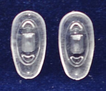 """Image from mount side of nose pad.  Premium grade soft silicone """"Push-On"""" mount nose pads 17mm """"Tear Drop"""" Shape. Packaged in 25 pair bags    Special Mix-N-Match Nose pads pricing on 25 pair bags.  Image taken 2015 $7.25 per bag on 4 to 15 bags, $6.19 on 16 -39 bags and $5.50 on 40+ that equals  $100 pairs for $29 or 400 pair at $99 Final price determined by """"Shopping Cart Total"""" of """"Premium Nose Pads"""""""